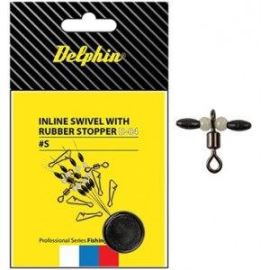 Inline swivel with rubber stopper