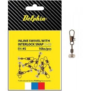 Obratlík s karabínkou DELPHIN Inline Head Swivel with Interlock snap