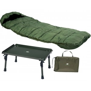 SET = spacák GIANTS FISHING Comfort 4 Season Sleeping Bag + stolík Siesta Bivvy Table
