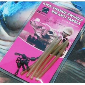 Obratlík LK Baits Kwik Change swivels / Rig Anti Tangle s hadičkou
