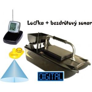 Lacná zavážacia loďka a bezdrôtový sonar