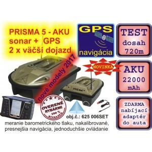 Zavážacia loďka PRISMA 5 + sonar + GPS + 22000mAh aku