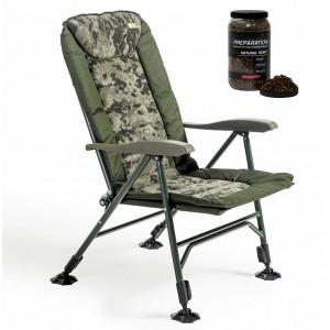 SET = Kreslo MIVARDI Chair CamoCODE Quattro + Varené konope STARBAITS PreparationX Natural Hemp